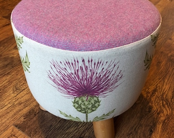 Scottish Pink Thistle Footstool with wool Top