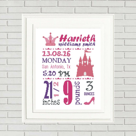 Baby girl announcement cross stitch baby cross stitch custom cross baby girl announcement cross stitch baby cross stitch custom cross stitch princess birth announcement baby shower gift baby girl cross from negle Image collections