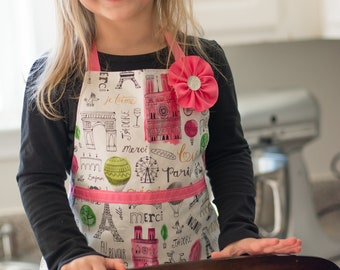 Pink Paris Reversible Polka Dot Toddler Girl Apron for Kitchen Art or Play