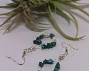 Turquoise and Freshwater Pearl Teardrop Earrings