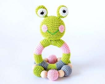 Crochet baby toy SET of 2 Teething baby toy.  Grasping and Teething Toys.  Frog. Stuffed toys. gift for baby!