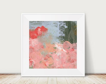 Printable Abstract Floral Art - Modern Botanical Artwork , Floral Bedroom Wall Art Print , Downloadable Print