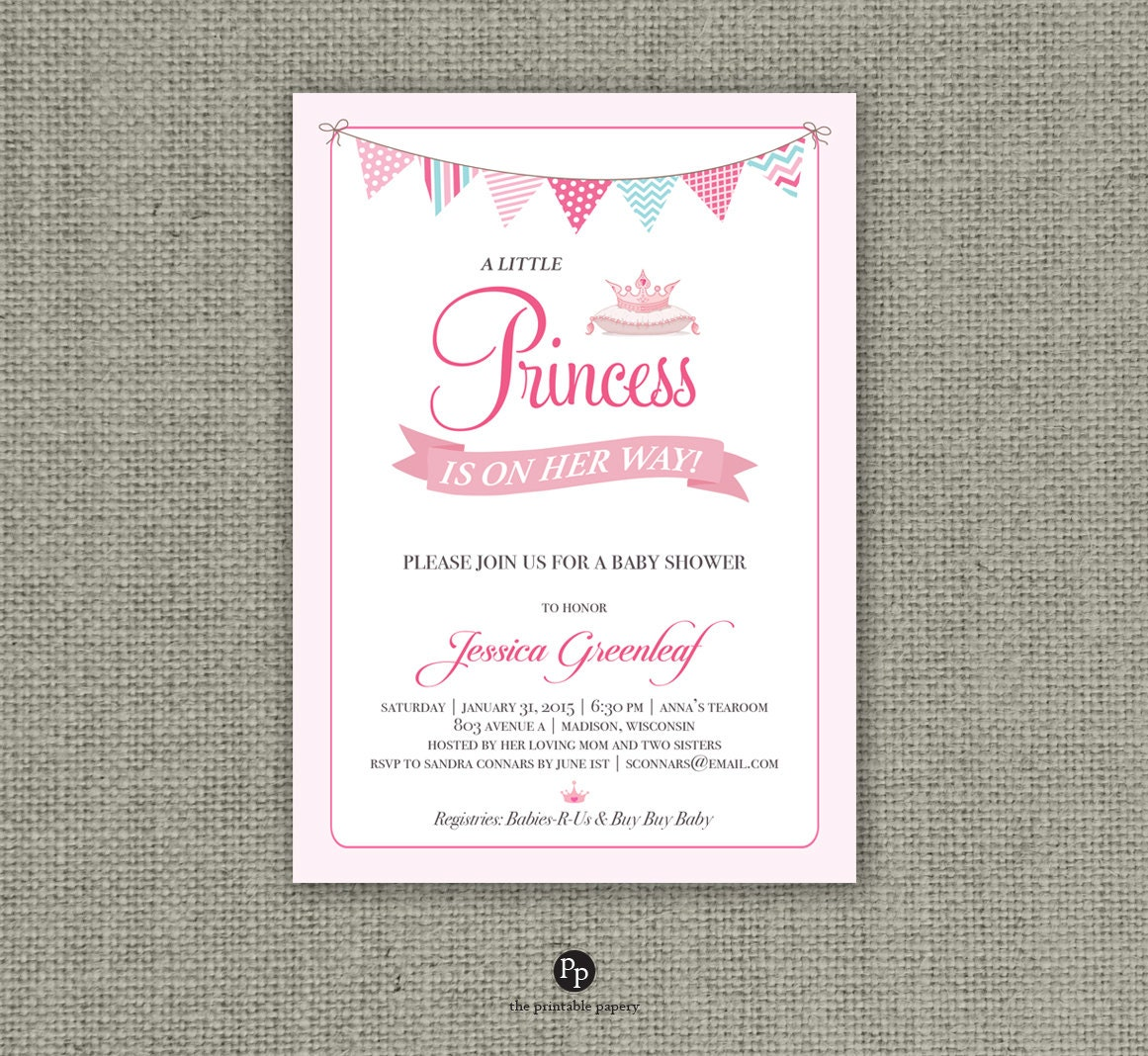Printable Princess Baby Shower Invitation Card | A Little Princess ...
