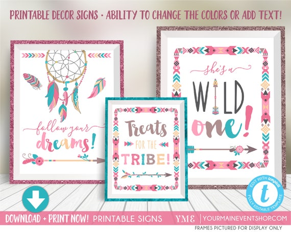 Wild One Birthday Party Decoration Sign • Girl Tribal TeePee Arrow Feathers Pow Wow Printable Sign • Treats For The Tribe