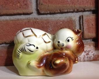 Vintage Squirrel Flower Pot Resting On Green Acorn Talking To Worm