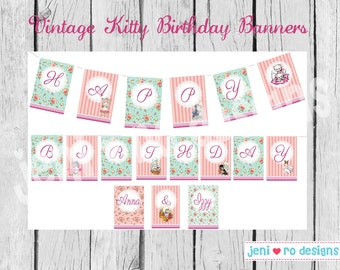 Vintage Kitty Party Printable Birthday Banners - Personalized