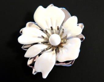 Vintage Flower Brooch White Enamel Pin Sarah Coventry Silver Metal