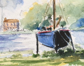 Harbour ORIGINAL Miniature Watercolour painting 'The Mooring'  Boat, ACEO, For him, For her, Home Decor Gift Idea Wall Art, Free Shipping