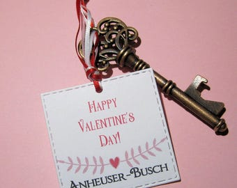 Key Ring Bottle Opener - Personalized - Valentine party favor - Corporate Gift - Valentine gag gift - Vintage - Happy Valentine's Day
