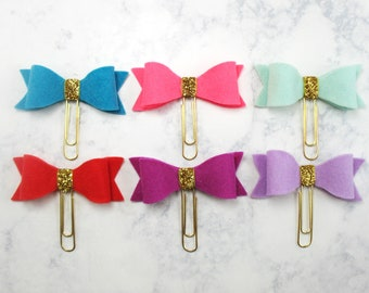 Set Of Two, Felt Bow Planner Clips, Bow Paper Clips, Planner Accessories, Travelers Notebook Clips, Planner Decor, Filofax, Happy Planner.