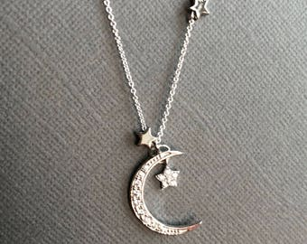 925 Silver Crescent Moon and Star necklace, Star and Moon necklace, Star necklace, Moon Necklace, I Love you to the moon and back