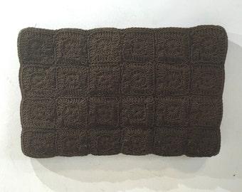 1940s large brown square motif crochet bag - 1940s evening bag - 1940s vintage purse - 1940s evening bag - 1940s crochet purse