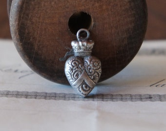 PAIR Antique French Crowned Heart Charm Pendant Amulet Solid Silver