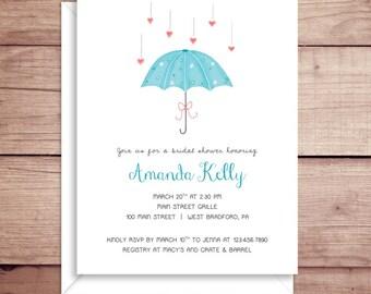 Bridal Shower Invitations - Umbrella Shower Invitations - Party Invitations - Bridal Invitations - Wedding Shower Invitations