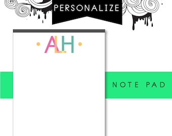 Customizable Initials Notepad