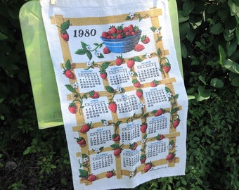 1980 Strawberries Tea Towel - Calendar Tea Towel - 1980 Linen Calendar Tea Towel