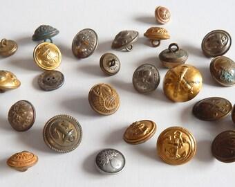 Mixte de 25 boutons militaire Vintage