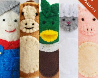 Farm Pattern, Old McDonald finger puppet pattern, horse pattern, duck pattern, sheep pattern, sheep pattern, farmer pattern, puppet pattern