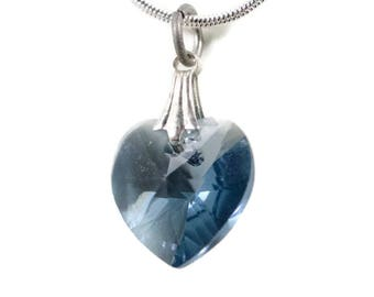 Blue Swarovski Heart Necklace