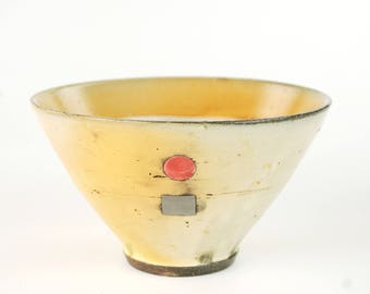 Bowl with Gray Square and Pink Circle