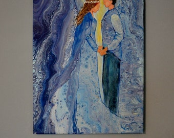 "Romantic Acrylic Pour, Embellished Acrylic Pour Painting, Fluid Art, Faceless Couple, Romantic Art, Blue Painting, Royal Couple, ""Betrothed"""