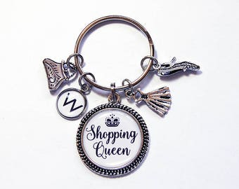 Shopping Queen Keychain, Keyring with charms, Key Ring, key chain, Loves to shop, stocking stuffer, gift for her, gift for girlfriend (7922)