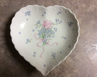 "Pretty Mikasa Heart Shape Dish, ""Always and Forever""."