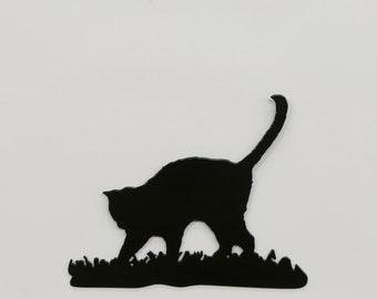 """Cat in Grass #3 - Metal Wall Art - 8.4"""" Wide x 6.7"""" Tall - (MM16---)"""
