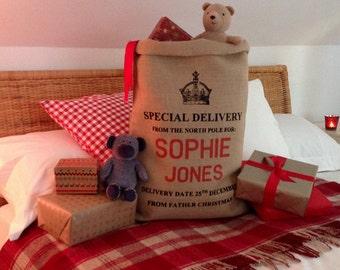 Santa Sack - Christmas Stocking - Christmas Bag - Crown Design
