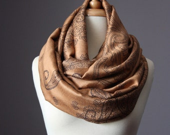 Fast shipping, Pashmina wrap, Camel scarf, brown infinity scarf , pashmina, paisley scarf
