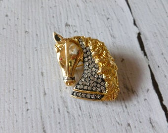 Vintage Horse Brooch in Gold Tone with Clear Rhinestones, Gift for Her