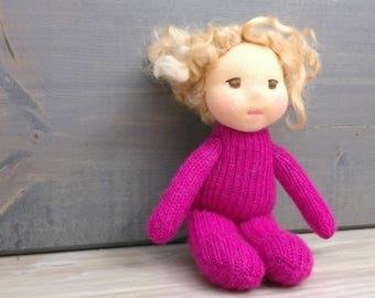 Tiny pocket doll waldorf inspired natural fibers