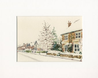 5x7 original watercolor of snowy street