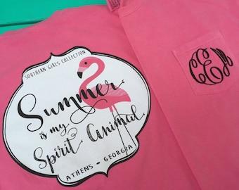 Monogram Summer is my Spirit Animal Flamingo Shirt - Monogrammed Comfort Colors tee - Short Sleeve Monogram tshirt - Mingo t-shirt