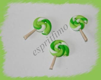 """""""Candy Apple green"""" charm in polymer clay"""