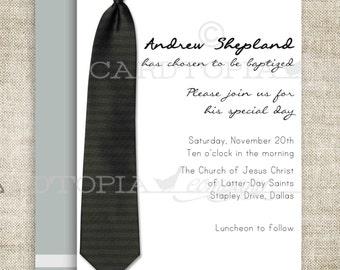 BAPTISM INVITATION LDS Tie Boy Baptism Priesthood Preview Invitation Picture Latter-Day Saint Mormon diy Printable Personalized - 196656189