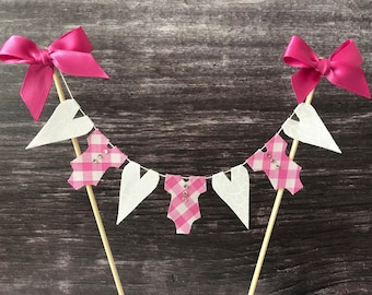 Baby cake topper, baby shower pink gingham cake banner,  baby birthday cake bunting, gender reveal