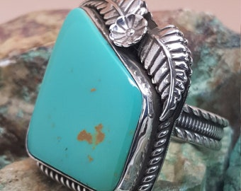 Manassa Turquoise set in Sterling Silver Ring Sz 9.5