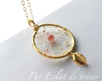 "Gold Sautoir ""Olorin"", dreamcatcher pendant"
