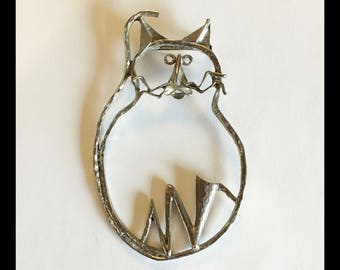 Large Cat Brooch, Silver Tone, Vintage 1980's