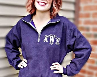 Monogrammed Half Zip Sweatshirt personalized