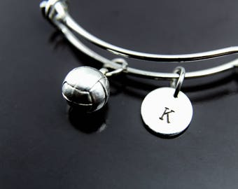 Volleyball Coaches Gifts, Volleyball Team Gifts, Volleyball Bracelet, Volleyball Mom, Sport Gifts, Personalized Bangle, Initial Charm