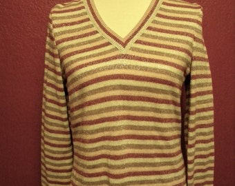 Vintage Metallic Striped Sweater