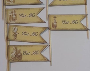 10 x Alice in Wonderland Cake toppers/flags