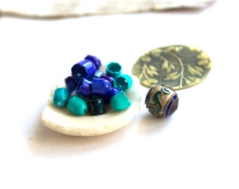 Blue Enamel Tulip Beadcap, Floral Patina Pendant, Cloisonne Bead Mix