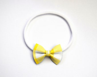 Sunshine Plaid Leather Bow Headband ONE SIZE fits All Adorable Photo Prop for Newborn Baby Little Girl Child Summer Headwrap Yellow Bow