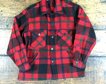 70s Woolrich Plaid Flannel Button Up Shirt Jacket