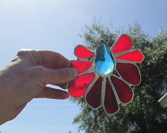 Stained Glass Crystal Flower Mobile Suncatcher - Elven Fire