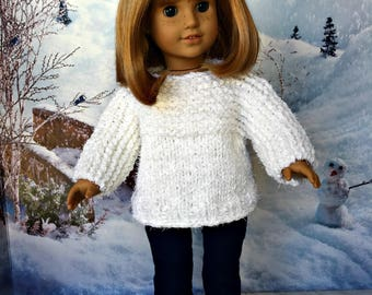 Hand Knit Sweater and Corduroy Jeans, fits American Girl and similar 18 inch dolls