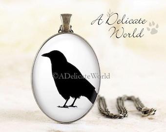 Crow Silhouette Necklace - Black Crow Jewelry, Gothic Crow Necklace Pendant, Bird Silhouette Jewelry, Crow Pendant, Bronze Bird Necklace